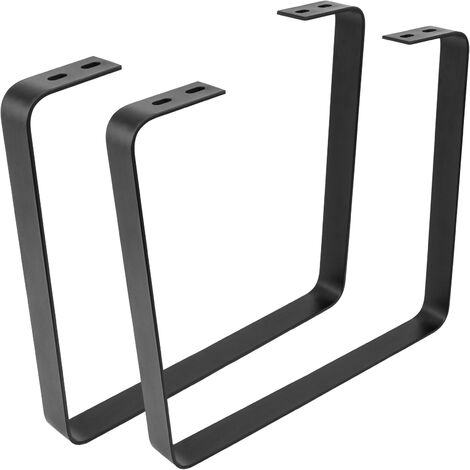 PrimeMatik - Pies rectangulares para mesita y banqueta Patas en acero negro 480 x 45 x 420 mm 2-pack