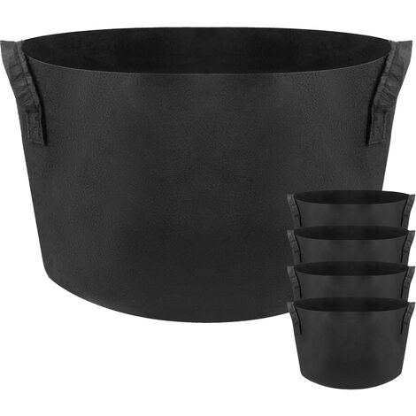 PrimeMatik - Planting grow bags Plat pots made of fabric felt 15 gallons 50x32cm 5-pack