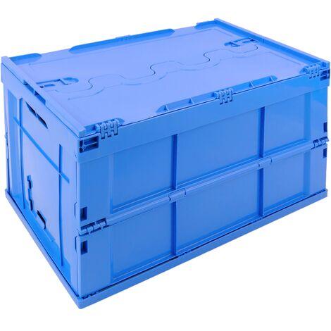 "main image of ""PrimeMatik - Plastic box EuroBox folding and stackable blue container with lid 60x40x32cm 65L"""