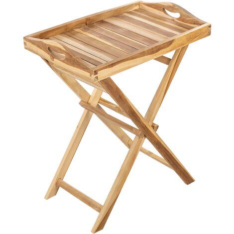 PrimeMatik - Plateau pliant d'extérieur avec pieds 60 x 70 x 40 cm en bois de teck certifié