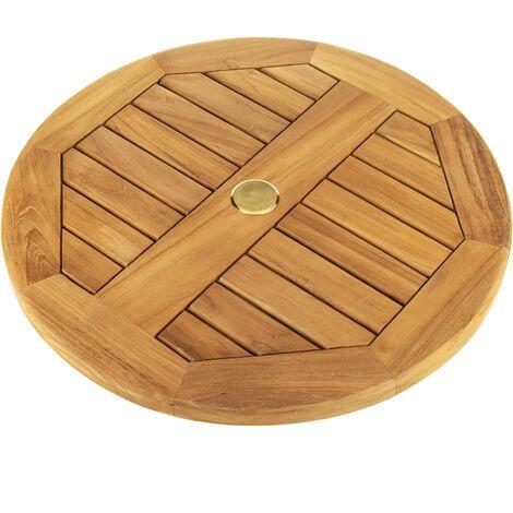 PrimeMatik - Plateau tournant 60cm pour table de jardin d'extérieur. Plateforme pivotante en bois de teck certifié