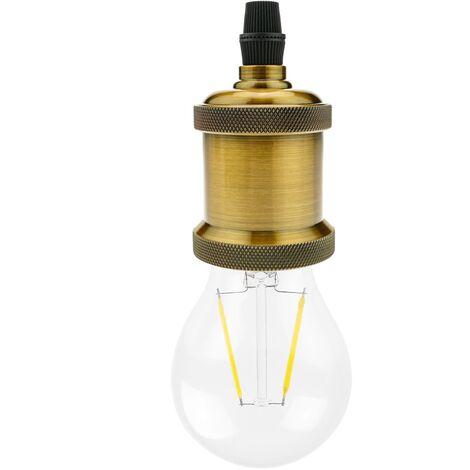 PrimeMatik - Portalámparas colgante Casquillo para bombilla de rosca E27 estilo bronce dorado antiguo vintage
