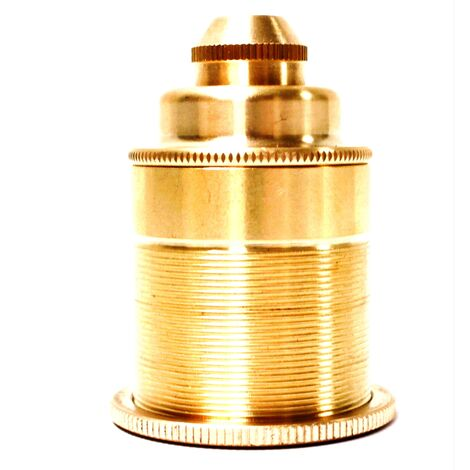 PrimeMatik - Portalámparas colgante Casquillo para bombilla de rosca E27 estilo dorado antiguo vintage