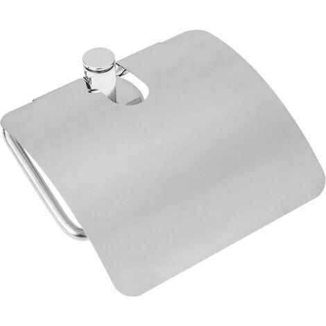 PrimeMatik - Portarrollos WC clásico para papel higiénico con tapa cromada