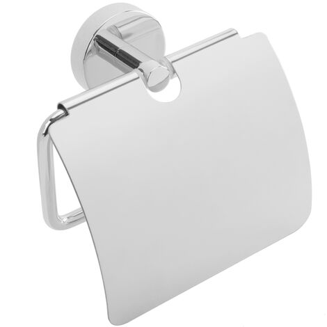 PrimeMatik - Portarrollos WC cromado con tapa para papel higiénico modelo Paddy