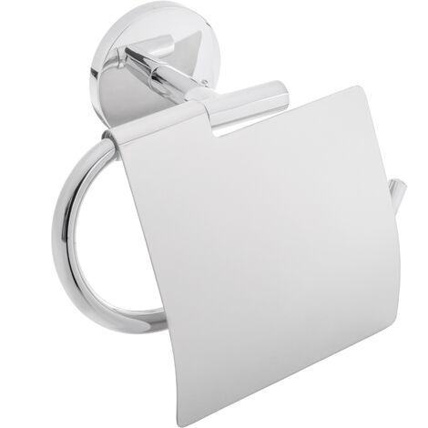 PrimeMatik - Portarrollos WC cromado con tapa para papel higiénico modelo Renne