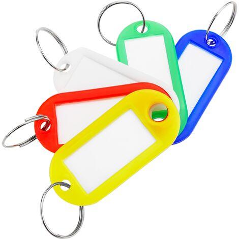 PrimeMatik - Porte-clé étiquette identifiant multicolores pour clés 100 unités