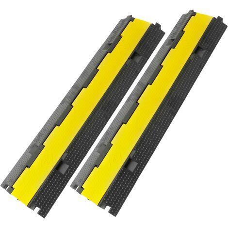 PrimeMatik - Protection au sol 2 voies 98 cm pour câbles en caoutchouc 2 pack