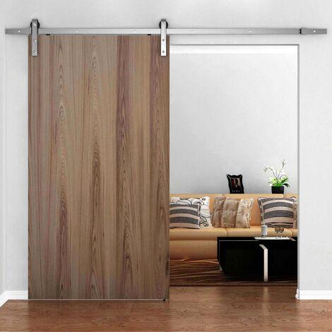 PrimeMatik - Rail guía para puerta corredera de color acero mate de 2m fijación lateral