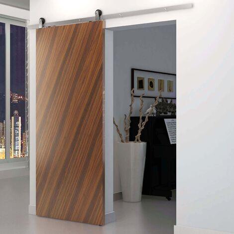PrimeMatik - Rail guía para puerta corredera de color acero mate de 2m fijación superior