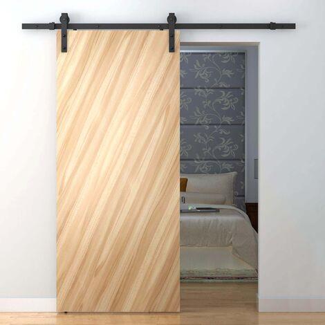 PrimeMatik - Rail guía para puerta corredera de color negro mate de 2m fijación lateral