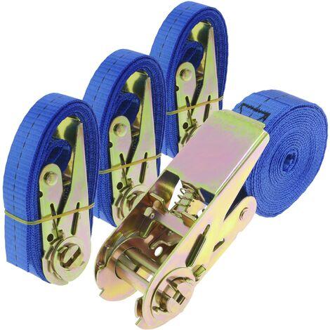 PrimeMatik - Ratchet strap 25 mm x 2.5 m 800 kg blue (pack 4)