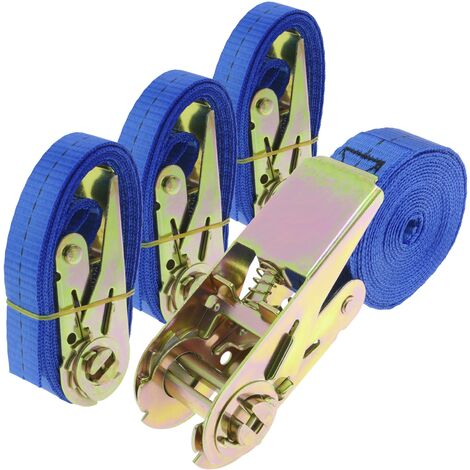 PrimeMatik - Ratchet strap 25 mm x 4 m 800 kg blue (pack 4)