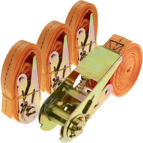 PrimeMatik - Ratchet strap 25 mm x 4 m 800 kg orange (pack 4)