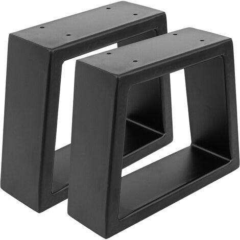 PrimeMatik - Rectangular legs for small table of black steel 250 x 80 x 200 mm 2-pack