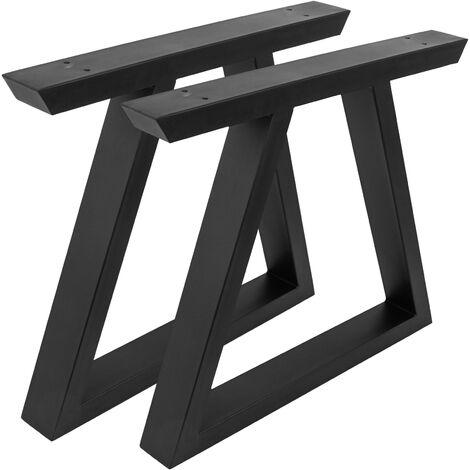 PrimeMatik - Rectangular legs for small table of black steel 480 x 60 x 420 mm 2-pack