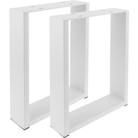 PrimeMatik - Rectangular legs for small table of white steel 300 x 80 x 430 mm 2-pack