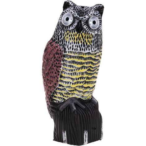 PrimeMatik - Répulsif oiseau statue chouette avec son et yeux LED 38cm femelle