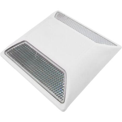 PrimeMatik - Road reflector 100 x 100 mm. White plastic floor catcher