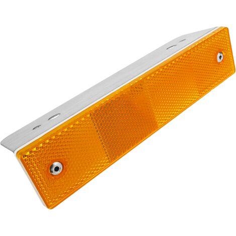 PrimeMatik - Road reflector 18 x 180 mm. Orange metal wall catchers
