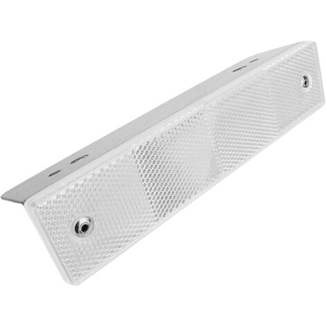 PrimeMatik - Road reflector 18 x 180 mm. White metal wall catchers