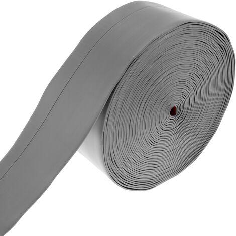 PrimeMatik - Rodapié flexible autoadhesivo 50 x 20 mm. Longitud 15 m gris
