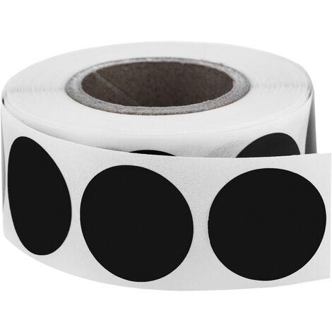 PrimeMatik - Roll of 500 black round adhesive labels 19 mm