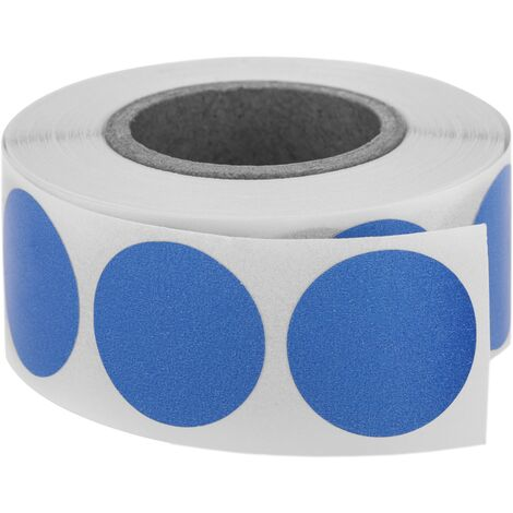 PrimeMatik - Roll of 500 blue round adhesive labels 19 mm