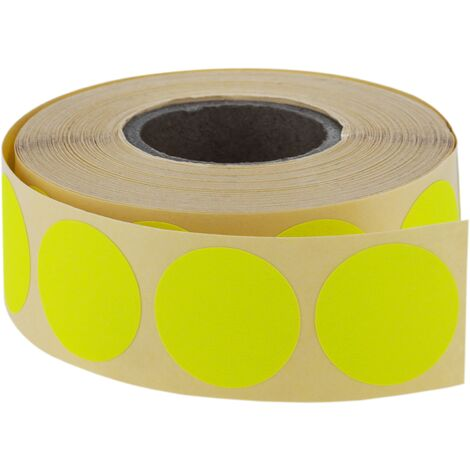 PrimeMatik - Roll of 500 fluorescent yellow round adhesive labels 19 mm