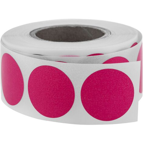 PrimeMatik - Roll of 500 pink round adhesive labels 19 mm
