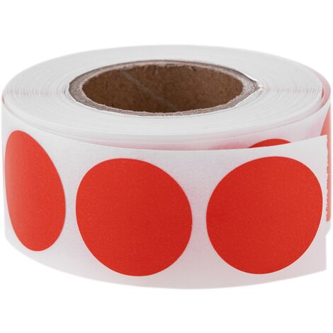 PrimeMatik - Roll of 500 red round adhesive labels 19 mm
