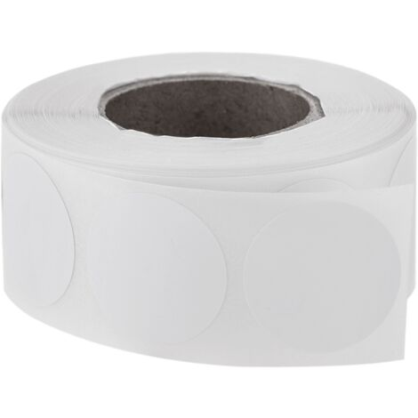 PrimeMatik - Roll of 500 white round adhesive labels 19 mm