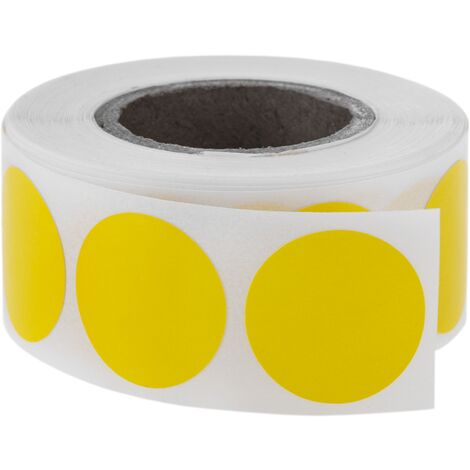 PrimeMatik - Roll of 500 yellow round adhesive labels 19 mm