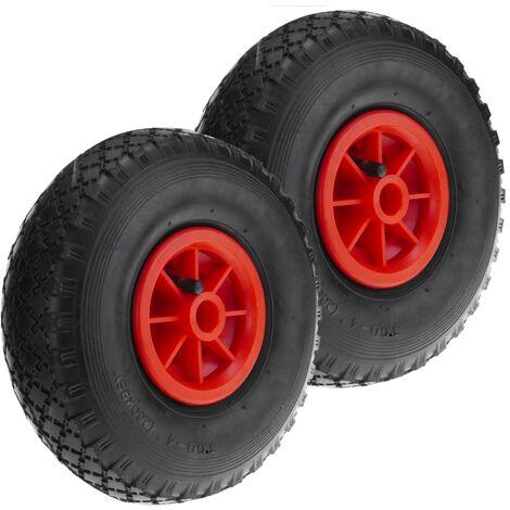 """4x roue de secours pour chariot diable PU-roue en caoutchouc 20 mm Moyeu 10/""""x3.00-4 Rouge"""