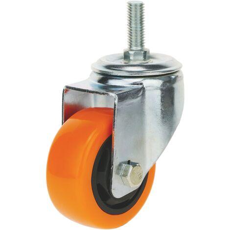 PrimeMatik - Roue industrielle pivotante en polyuréthane sans frein 75 mm M12