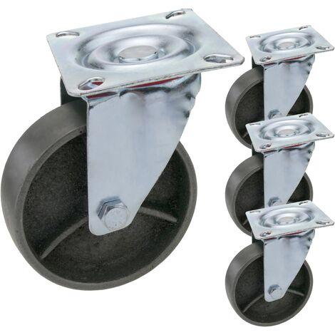 PrimeMatik - Roulettes industrielles de métal sans frein 100 mm 4 unités