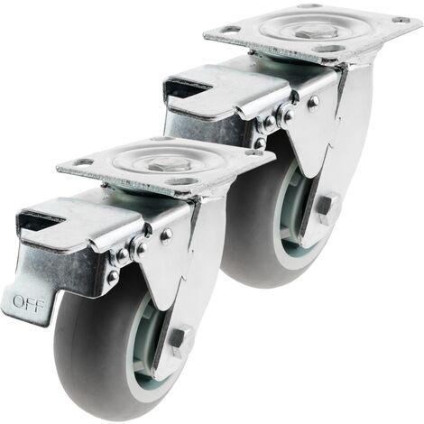 PrimeMatik - Roulettes industrielles en polyuréthane avec frein 125 mm 2 éléments