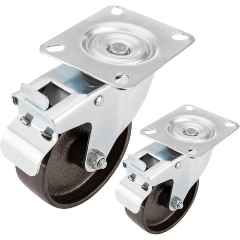 PrimeMatik - Roulettes industrielles pivotantes en métal avec frein 100 mm 2 unités