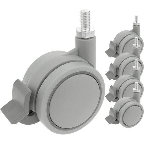 PrimeMatik - Roulettes pivotantes roue en nylon et polypropylène avec frein 60 mm M8 5 pack