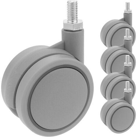PrimeMatik - Roulettes pivotantes roue en nylon et polypropylène sans frein 60 mm M8 5 pack