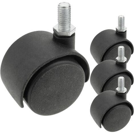 PrimeMatik - Roulettes pivotantes roue en nylon sans frein 40 mm M8 4 pack