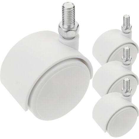PrimeMatik - Roulettes pivotantes roue en nylon sans frein 40 mm M8 blanc 4 pack