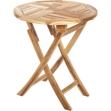 PrimeMatik - Round folding garden table 66 cm in certified teak wood