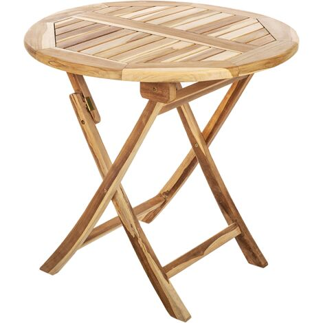 PrimeMatik - Round folding garden table 80 cm in certified teak wood