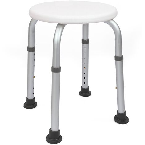 PrimeMatik - Round shower stool with adjustable height 32cm