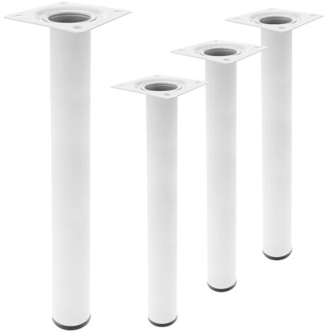 PrimeMatik - Round table legs for desks cabinets furniture made of white steel 40cm 4-pack