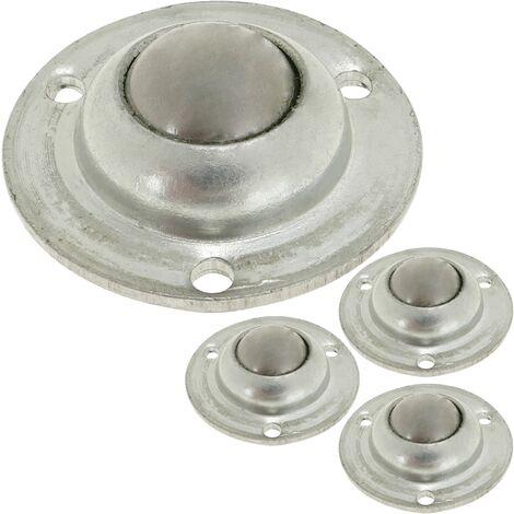 PrimeMatik - Rueda de bola de metal 12 mm para puertas y muebles 4 pack