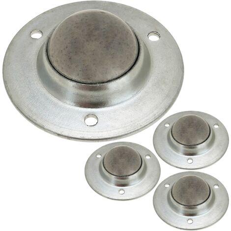 """main image of """"PrimeMatik - Rueda de bola de metal 24 mm para puertas y muebles 4 pack"""""""