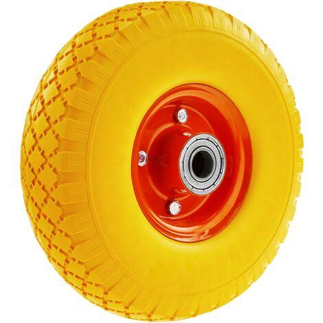 """PrimeMatik - Rueda maciza de carretilla anti-pinchazos amarilla 100 Kg 10x3"""" 254x76 mm para carros y plataformas de transporte"""