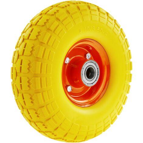 """PrimeMatik - Rueda maciza de carretilla anti-pinchazos amarilla 120 Kg 10x3.5"""" 254x89 mm para carros y plataformas de transporte"""
